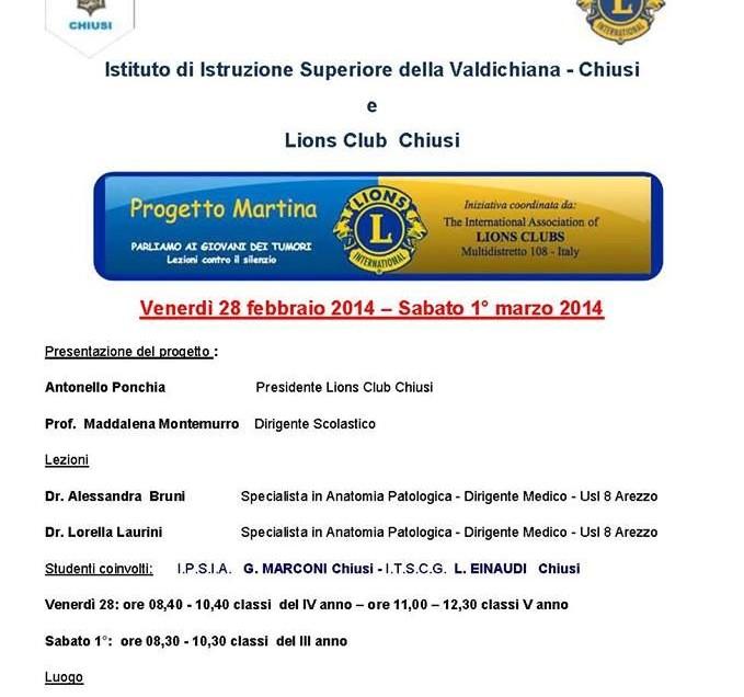 """LIONS CLUB CHIUSI. PROGETTO MARTINA. """"PARLIAMO CON I GIOVANI DEI TUMORI"""""""