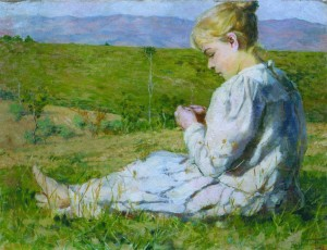 Bimba seduta sul prato,1899 Adele Galeotti